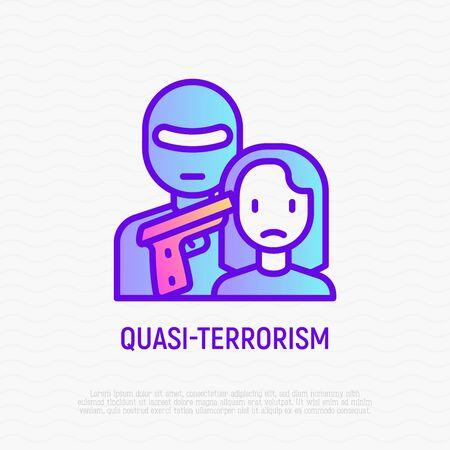 Quasi-terrorism thin line icon: terrorist in mask holding gun near temple of womans head. Modern vector illustration. 向量圖像