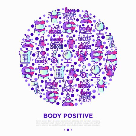 Body positive concept in circle with thin line icons: woman plus size, yoga, bikini, armpit hair, legs hair, mirror, disability. Stickers with quotes. Vector illustration, print media template.