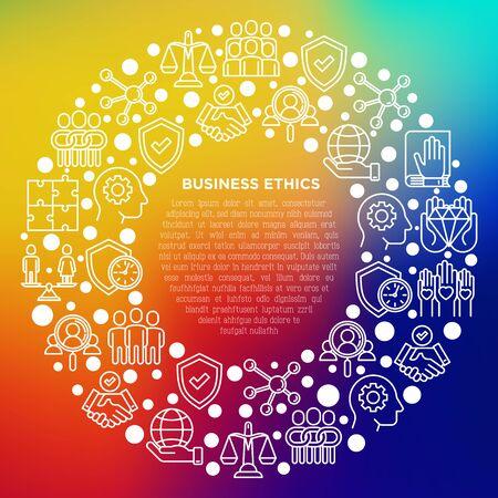 Concept d'éthique des affaires en cercle avec des icônes de ligne mince : union, honnêteté, responsabilité, justice, engagement, non au racisme, emploi de genre, valeurs fondamentales. Illustration vectorielle, modèle de support d'impression. Vecteurs