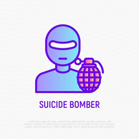 Suicide bomber thin line icon: terrorist with bomb. Modern vector illustration.