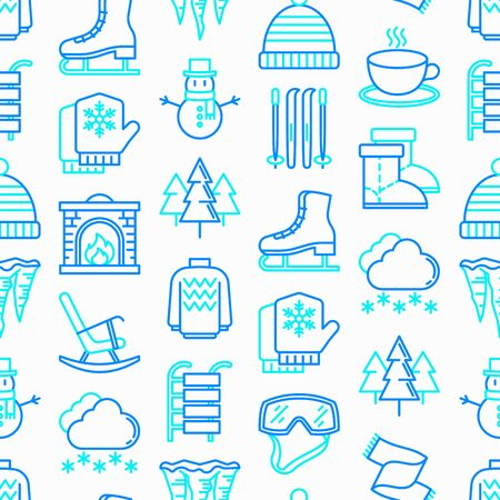 Winter seamless pattern with thin line icons: fireplace, skates, mittens, snowflake, scarf, snowman, pullover, sledges, rocking chair, skiing, icicle, snowfall. Modern vector illustration.