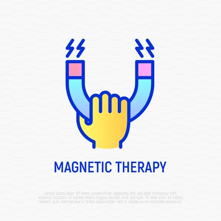 Magnetic therapy thin line icon: hand holding magnet. Modern vector illustration of rehabilitation.