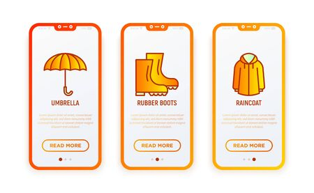 Autumn clothing thin line icons set: umbrella, rain, rubber boots. Vector illustration for user mobile interface.