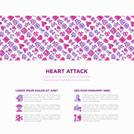 Heart attack symptoms concept with thin line icons: dizziness, dyspnea, cardiogram, panic attack, weakness, acute pain, cholesterol level, nausea, diabetes. Vector illustration, print media template.