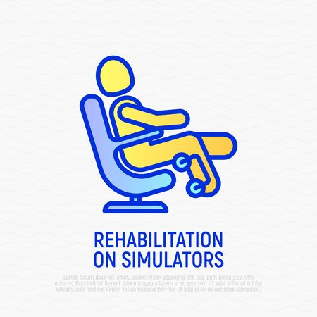 Rehabilitation on simulators thin line icon. Modern vector illustration of muscle recovery. 向量圖像