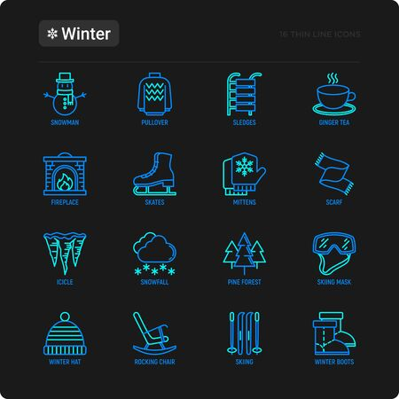 Winter thin line icons set: fireplace, skates, mittens, snowflake, scarf, snowman, pullover, sledges, rocking chair, skiing, icicle, snowfall. Modern vector illustration.  イラスト・ベクター素材