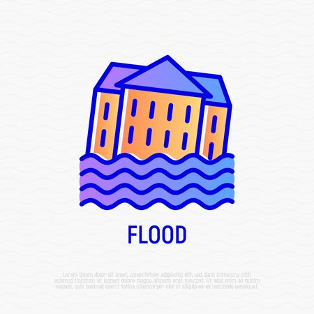 Flood thin line icon: house in water. Modern vector illustration of natural disaster.