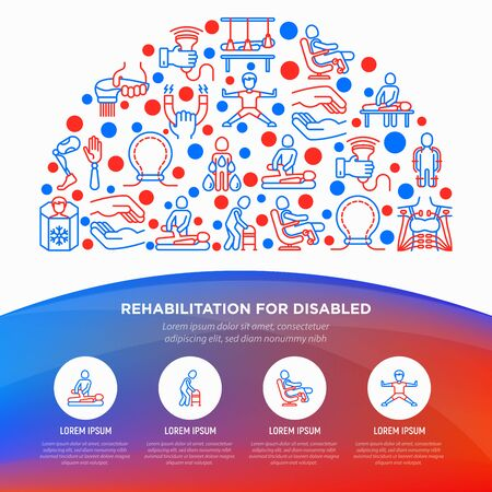 Rehabilitation for disabled concept in half circle with thin line icons: magnetic therapy, laser, massage, lymphatic drainage, physiotherapy, biomechatronics, suspension system. Vector illustration. Illustration