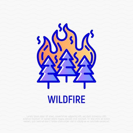Wildfire in forest thin line icon. Modern vector illustration of natural disaster.