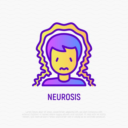 Neurosis thin line icon: man with anxiety. Modern vector illustration of mental illness.