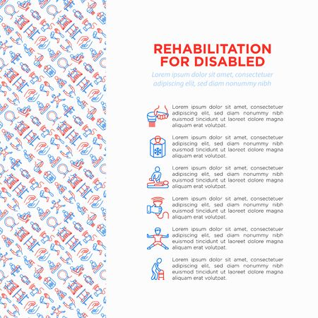 Rehabilitation for disabled concept with thin line icons: magnetic therapy, laser, massage, lymphatic drainage, exoskeleton, biomechatronics, suspension system. Vector illustration, web page template.