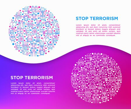 Stop terrorism concept in circle with thin line icons: terrorist, civil disorder, cyber attacks, suicide, bomber, illegal imprisonment, bioterrorism. Vector illustration, print media template. 向量圖像