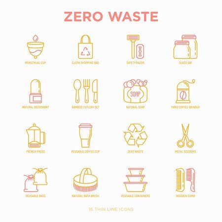 Zero waste thin line icons set: menstrual cup, safety razor, glass jar, natural deodorant, hand coffee grinder, french press, metal scissors, bath body brush, wooden comb. Modern vector illustration.