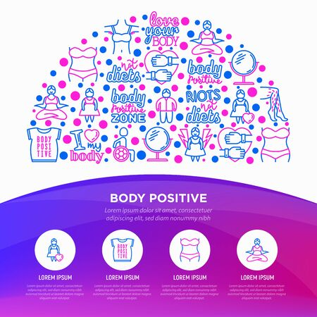 Body positive concept in half circle with thin line icons: woman plus size, yoga, bikini, armpit hair, legs hair, mirror, disability. Stickers with quotes. Vector illustration, print media template. 向量圖像