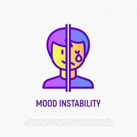 Trastorno bipolar, icono de la delgada línea de inestabilidad del estado de ánimo. Una mitad de la cara está feliz, la otra llora. Ilustración de vector moderno.