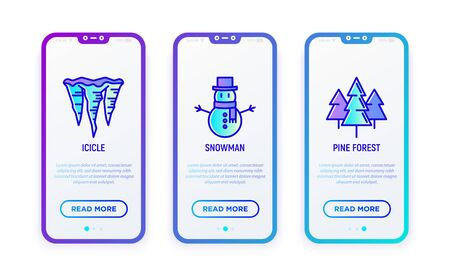Winter thin line icons set: snowman, icicle, pine forest. Modern vector illustration for user mobile interface.