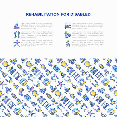 Rehabilitation for disabled concept with thin line icons: magnetic therapy, laser, massage, lymphatic drainage, cryotherapy, biomechatronics, suspension system. Vector illustration, web page template.