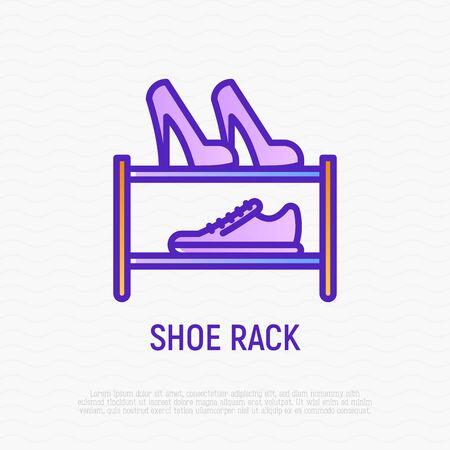 Shoe rack thin line icon. Modern vector illustration of furniture.