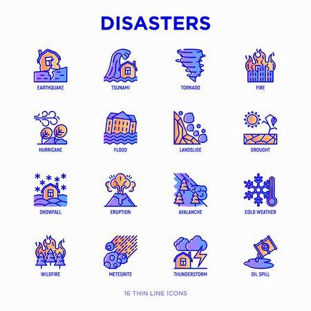 Disasters thin line icons set: earthquake, tsunami, tornado, hurricane, flood, landslide, drought, snowfall, eruption, thunderstorm, avalanche, meteorite, wildfire. Modern vector illustration.