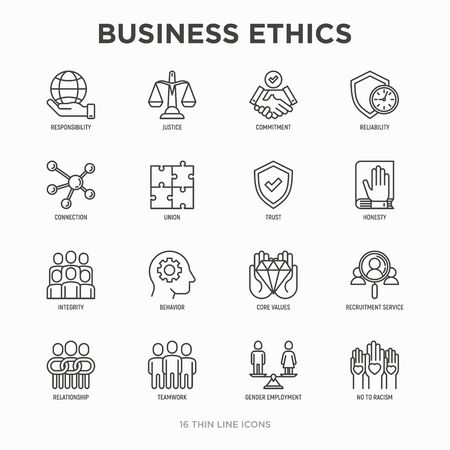 Business ethics thin line icons set: connection, union, trust, honesty, responsibility, justice, commitment, no to racism, recruitment service, teamwork, gender employment. Modern vector illustration. Vettoriali