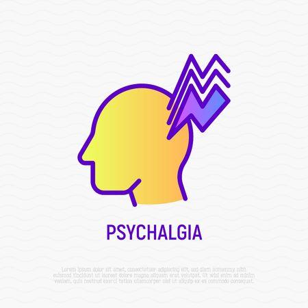 Psychalgia thin line icon: headache as symptom of neurosis. Modern vector illustration of mental illness.