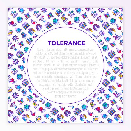 Tolerance concept with thin line icons: gender, racial, national, religious, sexual orientation, educational, disability, respect, human rights, democracy. Vector illustration, print media template.