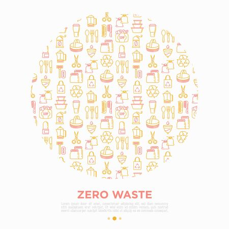 Zero waste concept in circle with thin line icons: menstrual cup, safety razor, glass jar, natural deodorant, hand coffee grinder, french press, wooden comb. Vector illustration, print media template. Foto de archivo - 135428844