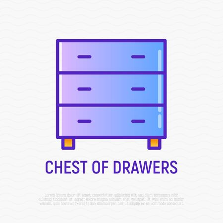 Chest of drawers, dresser thin line icon. Modern vector illustration of furniture, element of interior.