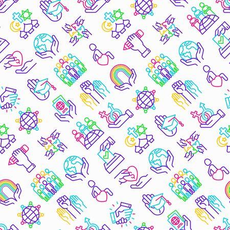 Tolerancia de patrones sin fisuras con iconos de líneas finas: género, raza, nacional, religiosa, orientación, educación, interclase, por discapacidad, respeto, derechos humanos, democracia. Ilustración vectorial