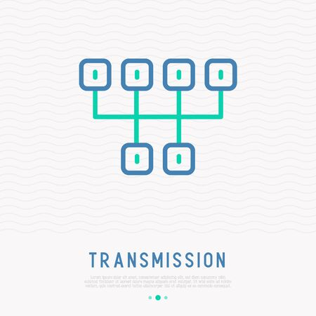 Transmission thin line icon. Modern vector illustration of gearbox.