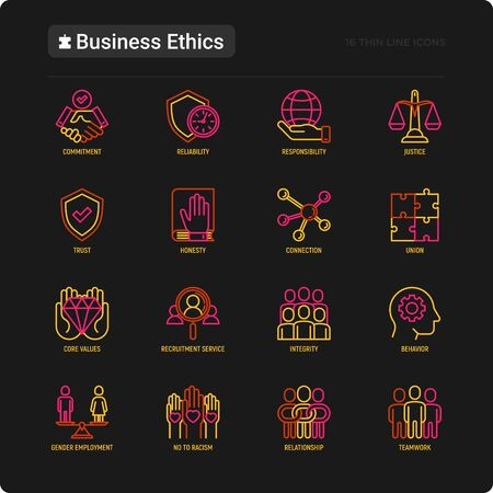 Business ethics thin line icons set: connection, union, trust, honesty, responsibility, justice, commitment, no to racism, recruitment service, teamwork, gender employment. Vector illustration. Ilustração