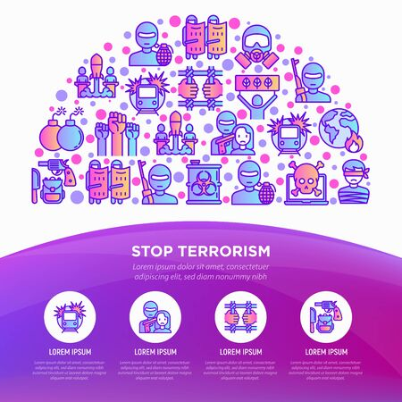 Stop terrorism concept in half circle with thin line icons: terrorist, civil disorder, national army, hostage, bombs, cyber attacks, suicide, bioterrorism. Vector illustration, web page template. 向量圖像