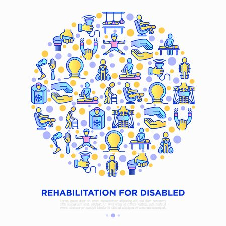 Rehabilitation for disabled concept in circle with thin line icons: magnetic therapy, laser, massage, lymphatic drainage, exoskeleton, cryotherapy, suspension system. Vector illustration.