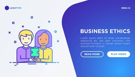 Business ethics concept: people of different nationalities working together. Thin line icons: commitment, no to racism, recruitment service, gender employment. Vector illustration, web page template. Illustration
