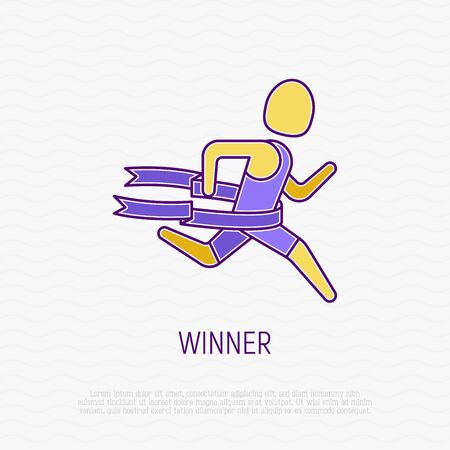 Winner of marathon thin line icon. Runner finishes and tears the ribbon. Modern vector illustration.