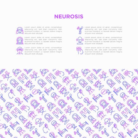 Neurosis concept with thin line icon: panic attack, headache, fatigue, insomnia, despair, phobia, mood instability, stuttering, psychalgia, dizziness. Vector illustration, print media template.