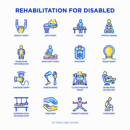 Rehabilitation for disabled thin line icons set: magnetic therapy, laser, massage, lymphatic drainage, exoskeleton, cryotherapy, physiotherapy, biomechatronics, ergotherapy. Modern vector illustration