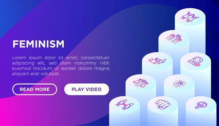 Feminism concept with thin line isometric icons: women's rights, girl power, gender equality, sex dicrimination, me too, protest, girls are strong. Vector illustration, web page template.