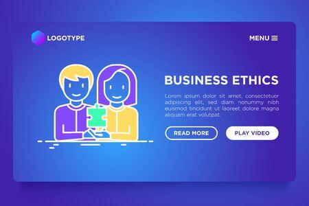 Concepto de ética empresarial: personas de diferentes nacionalidades trabajando juntas. Servicio de contratación, empleo de género. Ilustración de vector moderno, plantilla de página web.