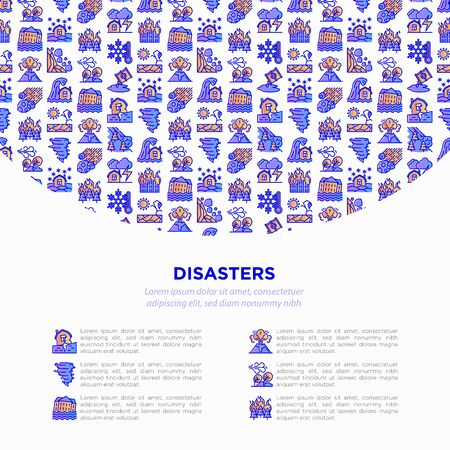 Disasters concept with thin line icons: earthquake, tsunami, tornado, hurricane, flood, landslide, drought, snowfall, eruption, thunderstorm, avalanche. Vector illustration, print media template. Иллюстрация