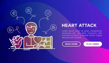 Heart attack symptoms concept: man with cardiogram and heart. Thin line icons. Vector illustration, web page template on gradient background.