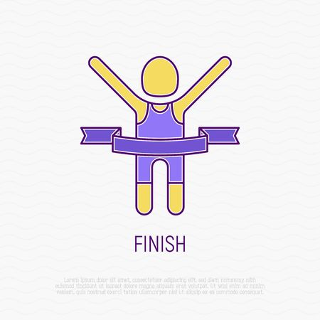 Runner with raised hands at finish tears ribbon. Thin line icon. Modern vector illustration.