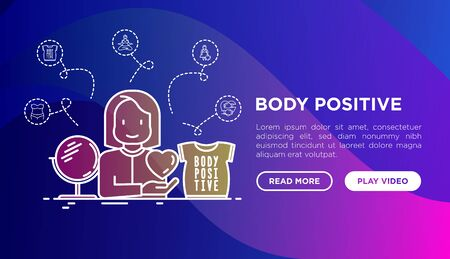 Body positive concept: woman plus size loves herself. Thin line icons: yoga, bikini,  mirror. Vector illustration, web page template on gradient background. Иллюстрация