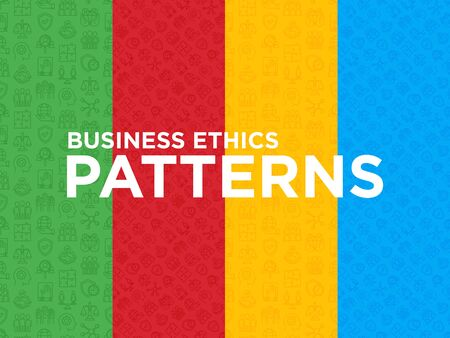 Four different Business ethics seamless patterns with thin line icons: connection, union, trust, honesty, responsibility, justice, commitment, no to racism, gender employment. Vector illustration.