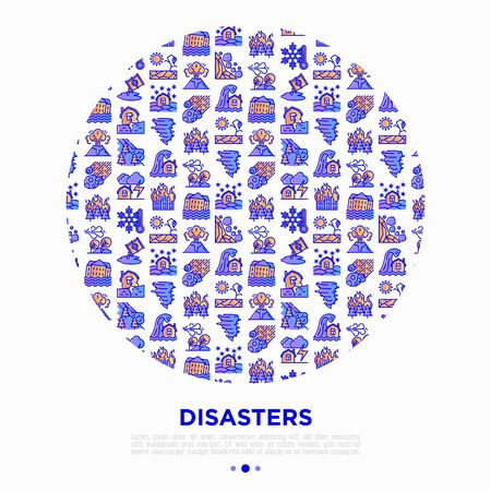 Disasters concept in circle with thin line icons: earthquake, tsunami, tornado, hurricane, flood, landslide, drought, snowfall, eruption, thunderstorm, avalanche, meteorite. Vector illustration. Иллюстрация