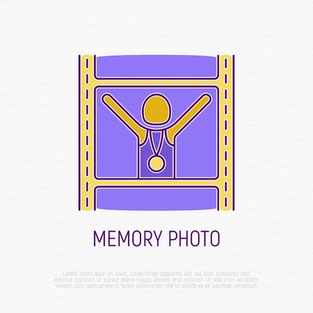Memory photo from marathon. Runner with hands raised and gold medal. Thin line icon. Modern vector illustration.