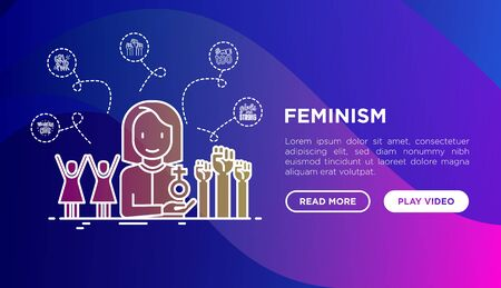 Feminism concept: women's rights, girl power, protest, girls are strong. Modern vector illustration, web page template on gradient background. Stock Illustratie