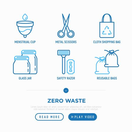 Zero waste thin line icons set: menstrual cup, safety razor, glass jar, metal scissors, cloth shopping bag, reusable bags. Modern vector illustration. Иллюстрация