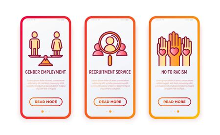 Business ethics thin line icons set: no to racism, recruitment service, gender employment. Vector illustration for user mobile interface.