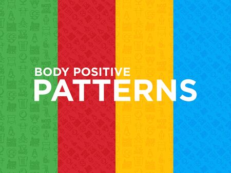 Four different Body positive seamless patterns with thin line icons: woman plus size, yoga, bikini, armpit hair, legs hair, mirror, disability. Modern vector illustration. Иллюстрация